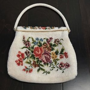 Vintage Floral Beaded Evening Bag